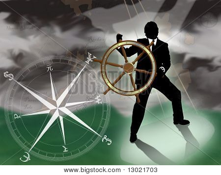 Representative of turmoil in world currencies.  Businessman/banker/broker at sea trying to navigate a storm with international currencies compass.