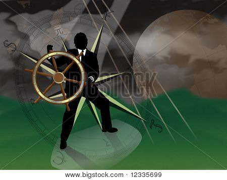 Representative of turmoil in world currencies.  Businessman/banker/broker at sea trying to navigate a storm with international currencies compass and world globe in background.