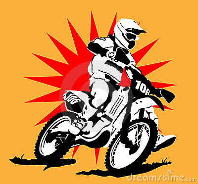 Motocross Illustration  with Star Background