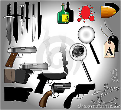 Murder mystery objects including guns, knives, forensics, magnifying glasses, bullets, blood, finger prints