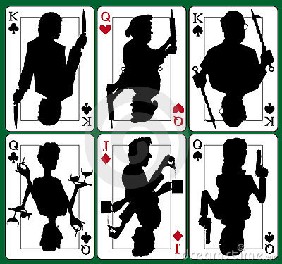 Murder Mystery Playing Cards, King, Qeen, Jack, Hearts, Diamonds, Spades, Clubs