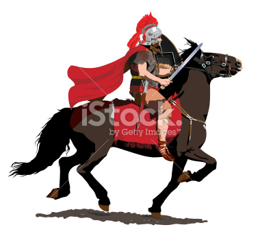 Red Plumed Roman Cavalry Illustration
