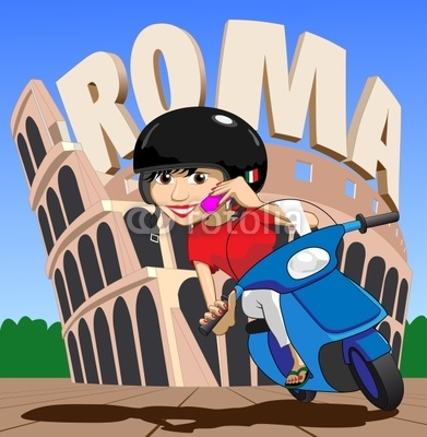 Scooter Girl on mobile phone In Roma (Rome) at the Colosseum