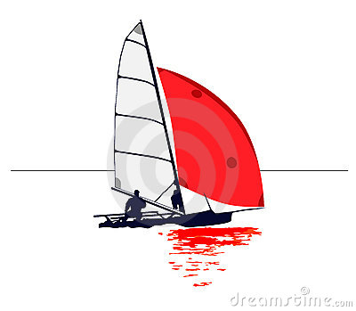 Clean illustration of a dinghy with red sail